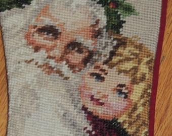 Needlepoint SANTA and CHILD Christmas Stocking