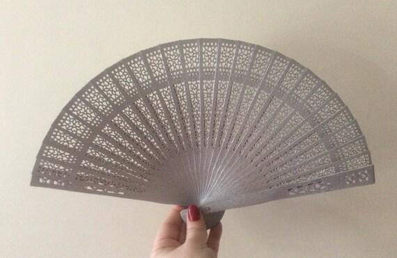 Regency/Victorian Style Fan. Silver Wooden Fretwork.