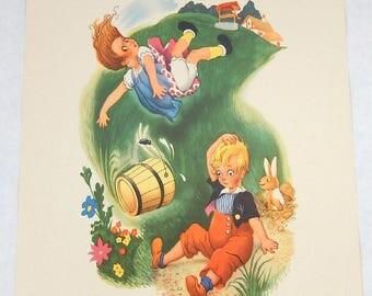 Vintage Prints Nursery Lithographs 10 Prints Moother Goose Decorative Nursery Lithos Vintage Penn Prints New York Little Bo Peep Jack & Jill