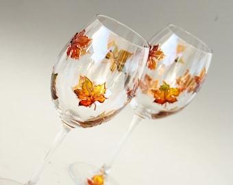Maple Leaf Glasses, Autumn Leaves Glasses, Wine Glasses, Painted Wine Glasses, Set of 2
