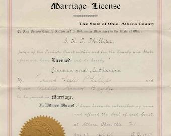 1917 Marriage License / Athens County, Marietta Ohio / Vintage document