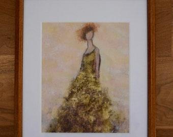 Dancer Painting  Spirit Guide Angel Painting Woman Female painting  Verdant Dreams  Green Gold  Framed  Swalla Studio
