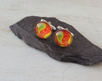 Paisley Cufflinks, Red & Green Pattern Cabochon Cufflinks, Paisley Jewellery, Bright Vibrant Colours, Men's Jewellery, UK, 2333