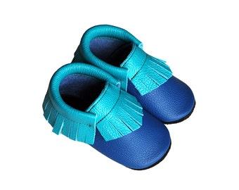 Leather baby moccasin, toddler moccs, soft-soled shoe, handmade baby moccs, turquoise