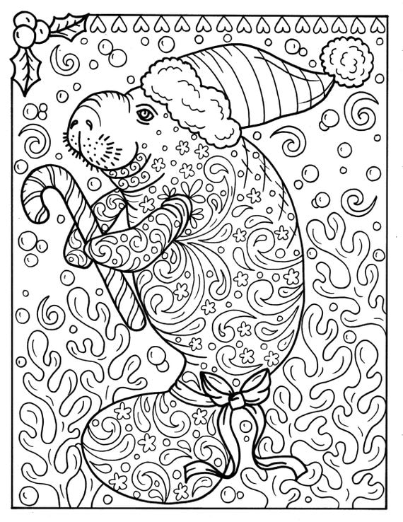 Manatee christmas coloring page instant download adult for Manatee coloring pages