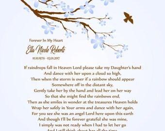 Loss of Daughter-In Memory of Daughter-Daughter Memorial Print-Daughter in Heaven-Sympathy/Condolence Gift-If Raindrops Fall In Heaven Poem