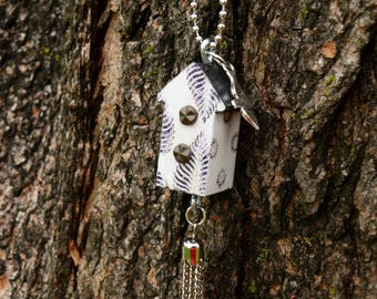 OOAK Birdhouse Necklace, Handmade, Black & White, from Bluebird Creations, Item #2001