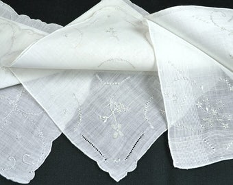 Lot of 3 White on White Linen Hankies Winter White Handkerchiefs Embroidered Drawn Work Hand Rolled Hems Bridal Wedding Bridesmaids Like New