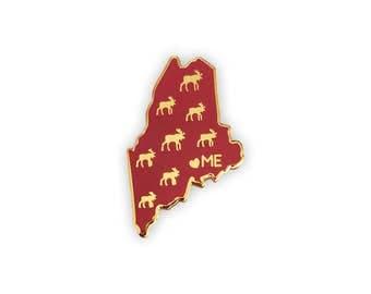 Maine Enamel Pin - Maine State Moose Pin