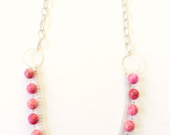 Pink and glass beaded statement necklace, multi layer necklace