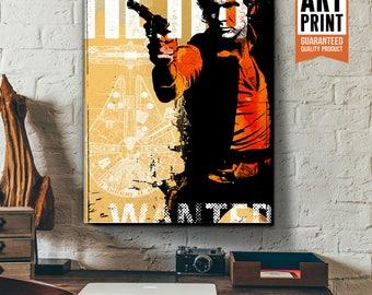 Star Wars Canvas - Han Solo - Star Wars Art, large Canvas Art Print, fan art illustration, Star Wars gift, Star Wars canvas art, Patent art