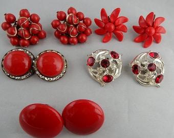 5 pair Vintage RED Clip On or Screw Back Earrings Lot