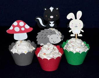 12 Enchanted Forest Cupcake Toppers READY to SHiP  Woodland Birthday Party up to  2 SETS SAME SHiPPING Food Picks Baby Shower Decorations