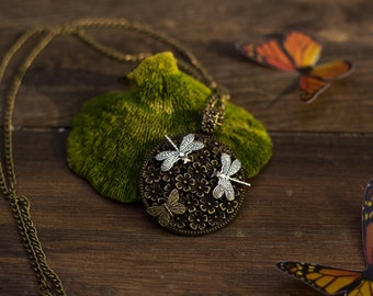 Firefly butterfly necklace pendant nature elven nature jewelry