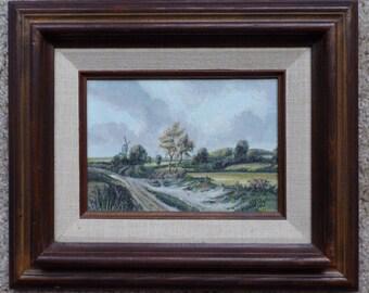 Old Dutch Landscape - Original Painting by Dutch artist Nico Diemel - Holland - Nederland - The Netherlands - Landscape - Dutch windmill