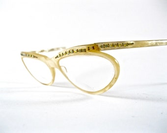 Unique mother of pearl eyeglass frames. Vintage wrap around glasses with rhinestones. Mod 1950s Raybert France.
