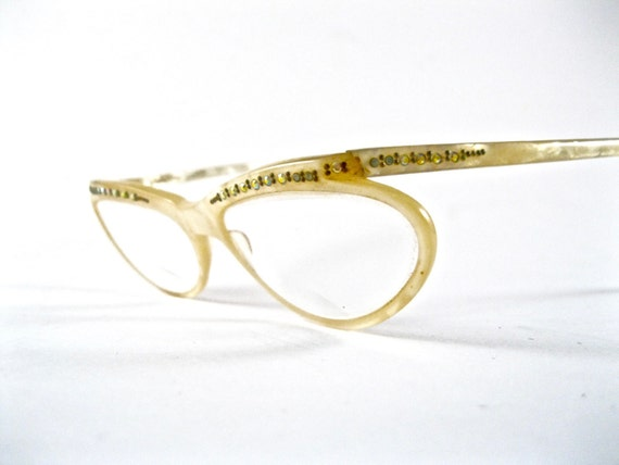 Unique mother of pearl eyeglass frames. Vintage wrap around
