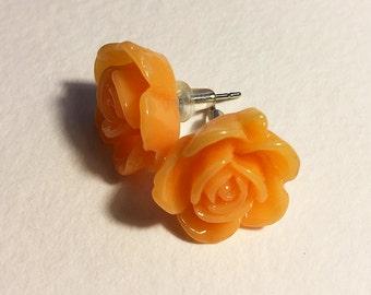 Orange resin rose earrings