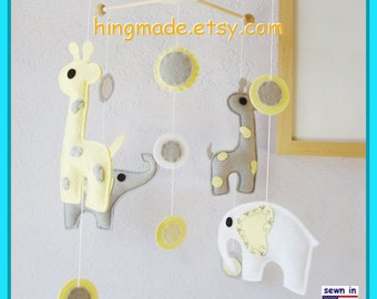 Baby Crib Mobile, Nursery Mobile, Modern Mobile, Elephant Mobile, Giraffe and Elephant Mobile, Yellow and Gray, Custom Mobile