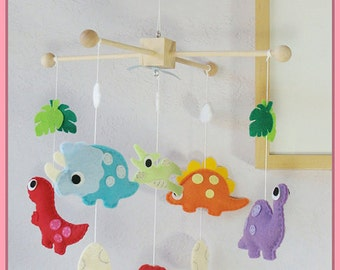 Dinosaur Baby Mobile, Adorable Dino Nursery Mobile, Nursery Crib Mobile, Kids Playroom Dinosaur Decor, Colorful Dinosaur Theme