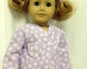 Pajamas--fits an American Girl doll--Long sleeve purple and white floral pj's