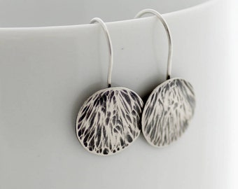 Texture silver disc earrings,  Silver disc dangle