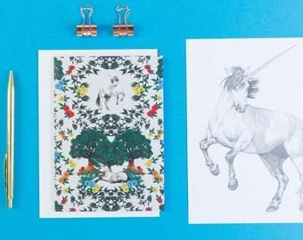 Medieval Unicorn Blank Greeting Card // Unicorn Card - Unicorn Birthday Card - Blank Card - Note Card