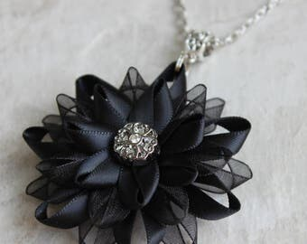 Black Necklace, Black Flower Pendant Necklace, Black Flower Necklace