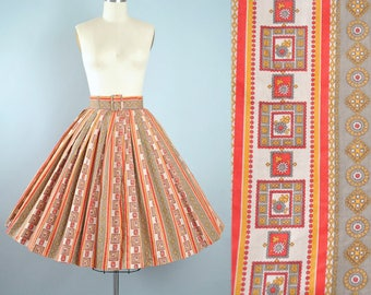 """Vintage 50s Belted Circle Skirt / 1950s Cotton Floral STRIPE Geometric Print Full Swing Skirt Garden Party High Waist 25"""" 26"""" 27"""" Small XS"""