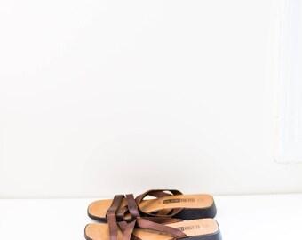 brown leather strap minimalist sandals - women's size 10