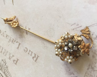 Vintage Unsigned Haskell Pearl Stick Pin Brooch, estate Jewelry