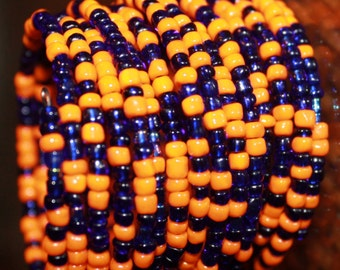New African orange and blue bracelet
