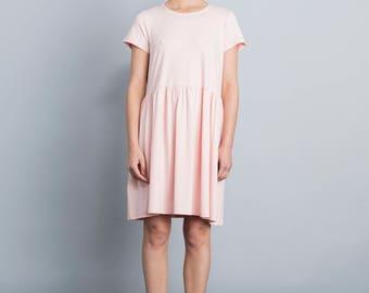 Pink summer dress, day dress, loose fit tricot dress, casual dress, mini length, viscose dress, short sleeves, side pockets, scoop neck