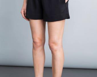 Black pants, summer shorts, casual pants, minimal, waistband belt shorts, boho, back pocket, Casual loose fit trousers, wide leg pants