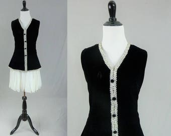 60s Party Dress - Black Velvet - White Chiffon - Silver Metallic Trim - Rhinestones - Lee Jordan - Vintage 1960s - S