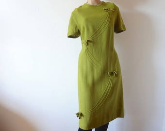 1960s Mod A-line Dress vintage avocado green rayon sheath dress