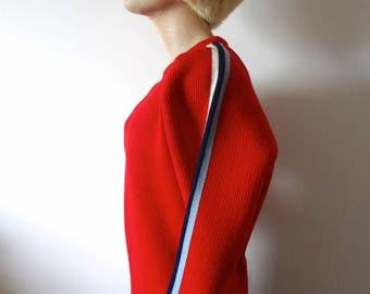 1970s Wool Ski Sweater - vintage red knit pullover with racing stripe sleeves by Eddie Bauer
