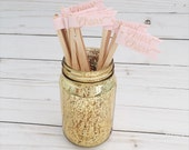25 Blush Pink Drink Stirrer Sticks with Gold Ink Calligraphy Cheers
