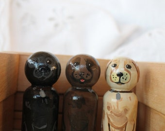 "Labrador Retrievers - Set of Three Dog Peg Dolls - Small 2 1/4"" Size"