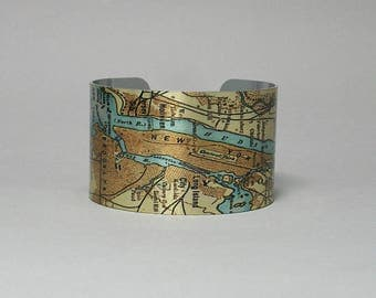 Cuff Bracelet NYC New York City Manhattan Brooklyn Hoboken Jersey City Hudson River Map Unique Travel Hometown Gift for Men or Women