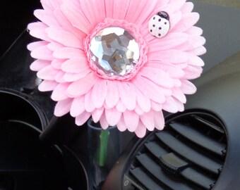 VW Beetle Flower - Pink Princess Bling Daisy