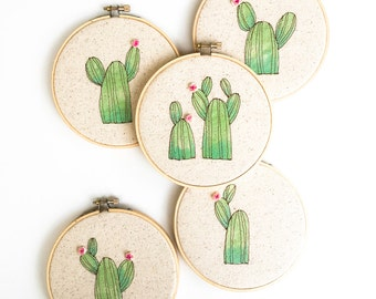 Botanical Home Decor, Cactus Hoop Art, Prickly Pear Embroidery Wall Hanging, Jungalow Style, MADE TO ORDER