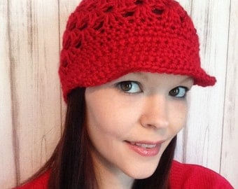 Red Saturday Hat, Fits 10 years old To Women, Ready To ship, Brimmed Crochet Hat, Fall Hat, Winter Hat, Teen Hat, Womens hat
