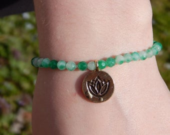 Green and White Jade Stretch Bracelet with Gold Plated Lotus Charm, OOAK, One of a Kind