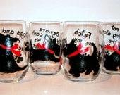 Scottish Terrier Dog Silhouette Hand Painted Wine Glasses Set of 4 - 21 oz. Stemless Wine Glasses Glassware Scottie, Westie, Scotties