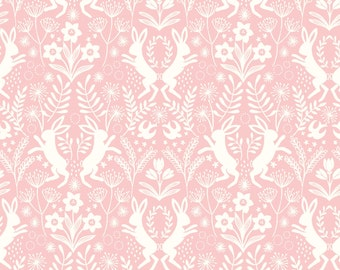 Little Hares White on Pink  A64.5 - SALISBURY SPRING - Lewis and Irene Fabric - By the Yard
