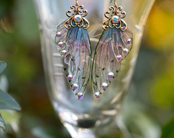 Sugar Plum Fairy wing earrings brass