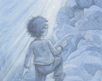 Child in the Clouds 5x7 Print matted 8x10