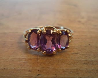Amethyst 10K Ring Yellow Gold Multiple Stone Ring Non Traditional Wedding Band Purple Jewelry Gift