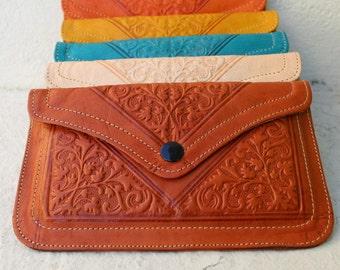 SALE!Leather wallet, womens wallet, orange wallet, pochette femme